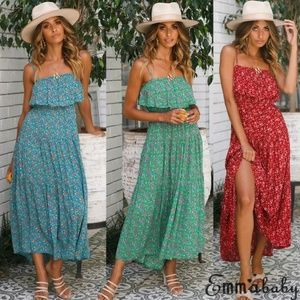 Dresses & Skirts - Blue Boho Floral Maxi Dress Sz M